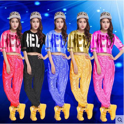 新款小苹果演出服DS女成人爵士舞服装现代舞练舞服嘻哈亮片舞蹈服