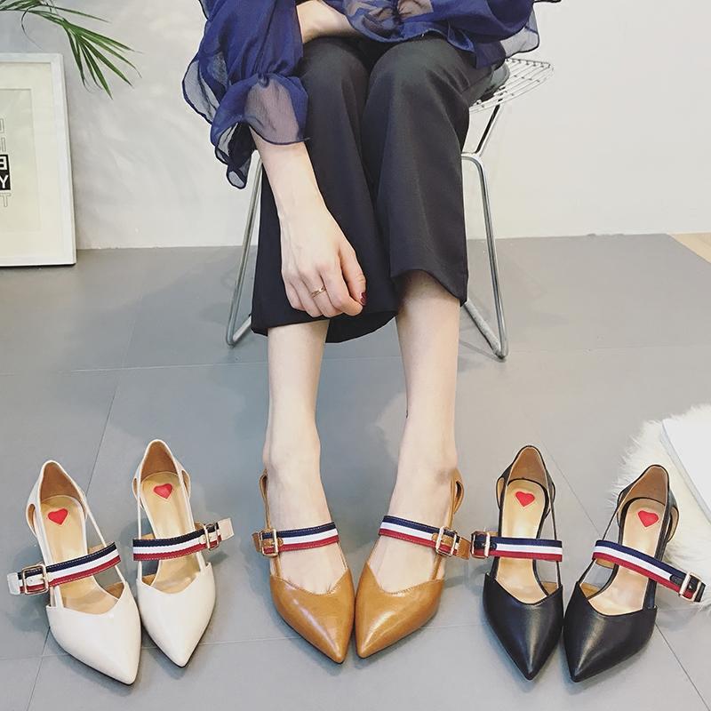 一字扣镂空凉鞋尖头百搭浅口高跟鞋女夏春韩版单鞋