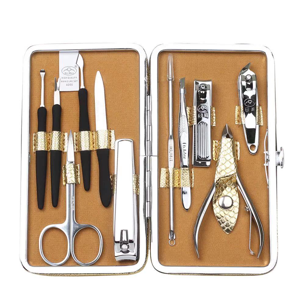金达日美纯钢指甲钳套装 指甲剪刀修脚美甲美妆工具11件套礼品