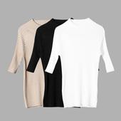 2017春季新品螺纹纯色中袖白色黑色圆领修身弹力打底针织衫T恤