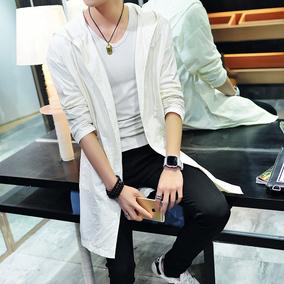 夏季防晒衣男潮流韩版轻薄款社会小伙外套户外中长款夹克男风衣