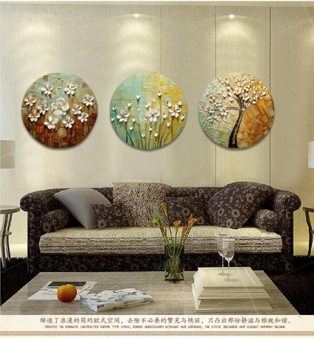 纯手绘油画 欧式客厅装饰画玄关挂画无框画三联