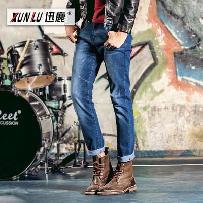 迅鹿2017春夏新款韩版时尚休闲直筒百搭弹力纯棉牛仔裤男长裤子