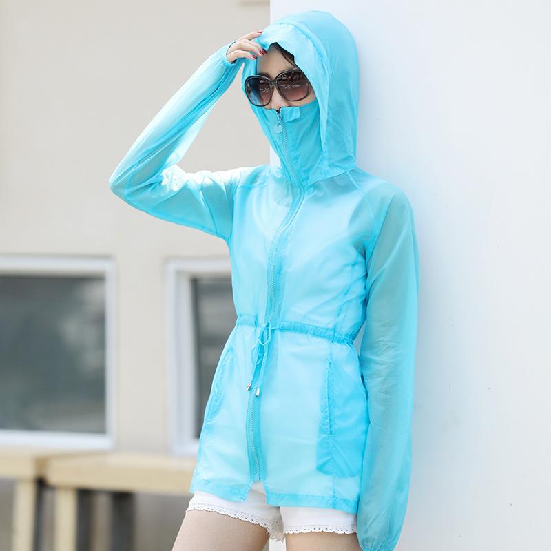純色透氣長款防曬寬松沙灘學生外套衣女夏中輕薄
