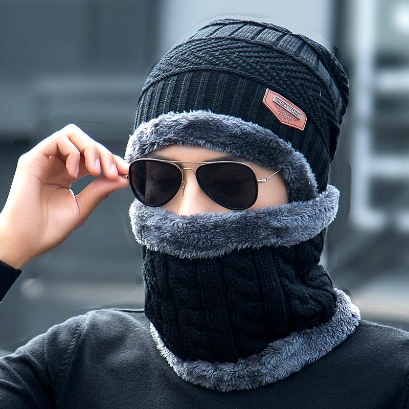 帽子男冬天加绒毛线帽加厚针织帽秋冬季套包头棉帽保暖潮青年韩版