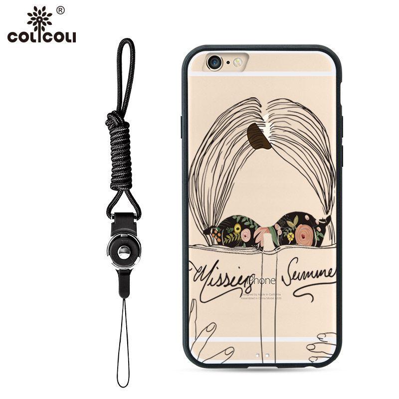 苹果6s iphone6 plus 欧美透明简笔画女手机壳挂绳软边防摔保护套
