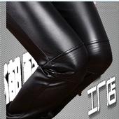 机车皮裤男加绒小脚拼接摩托车裤子男士皮裤韩版修身款潮黑色紧身