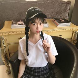 春夏女装2017新款韩版百搭V领纯色基础款T恤简约短袖打底上衣学生