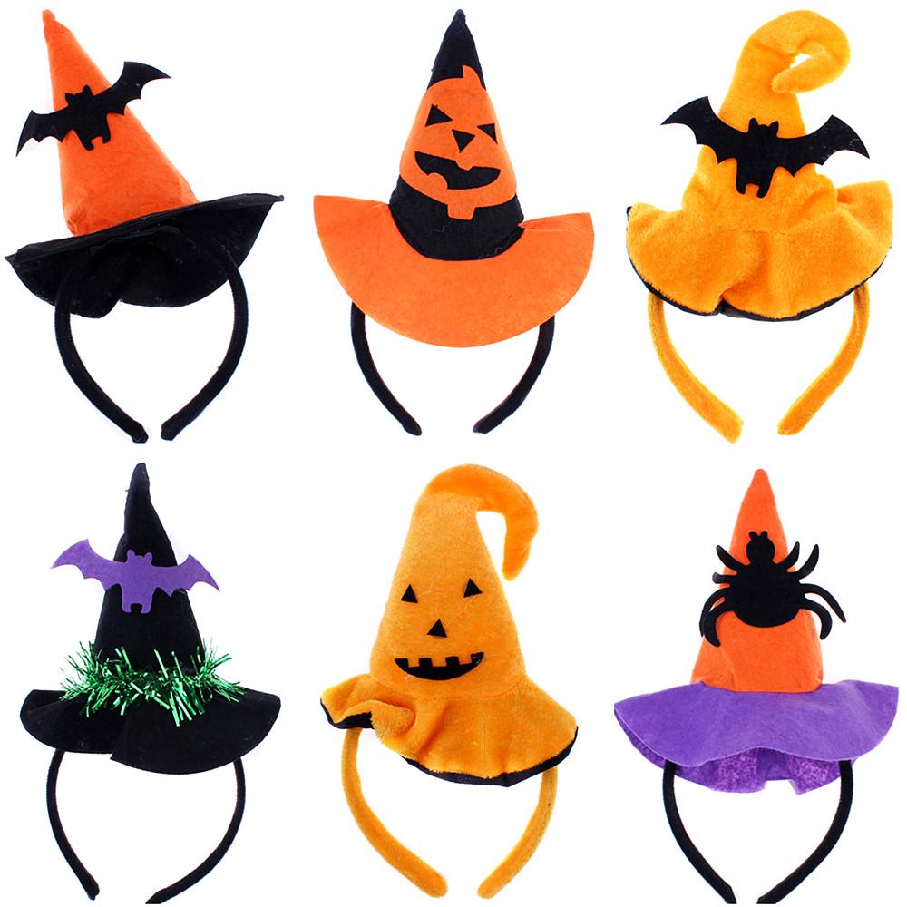 28g万圣节鬼节装扮聚会表演道具南瓜头箍巫婆帽头饰蝙蝠图片