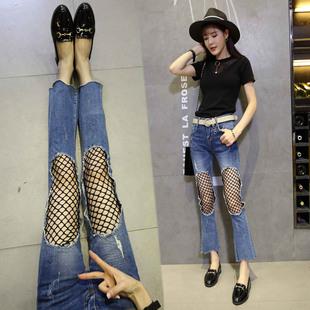 网袜牛仔裤女2017新款韩版喇叭裤女不规则修身微喇九分裤阔腿裤潮