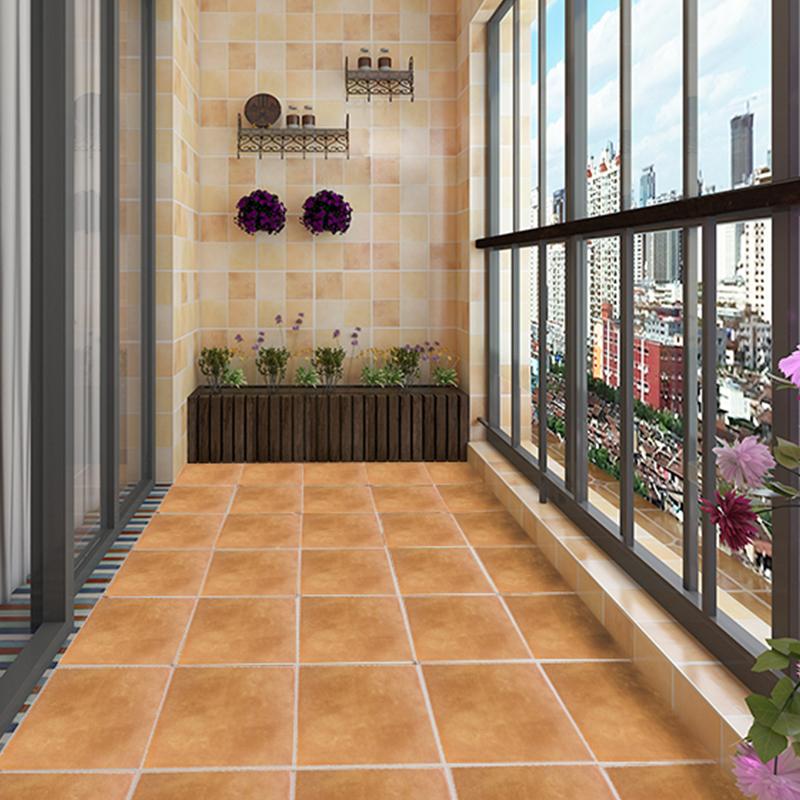 田园简约格子卫生间墙砖 厨房防滑地砖 阳台露台瓷砖仿古砖 300图片