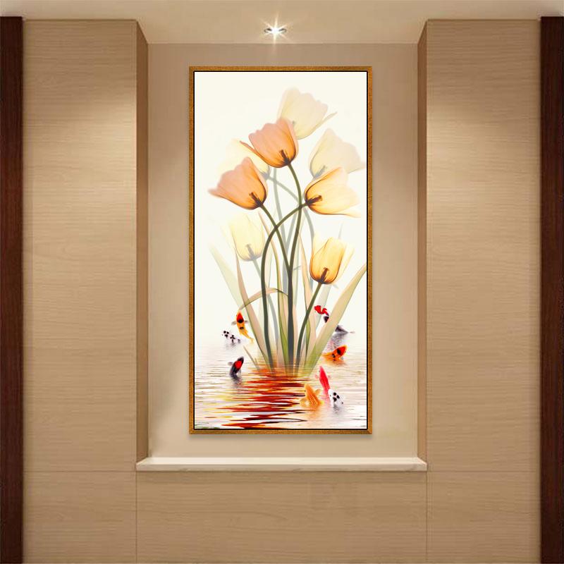 过道走廊入户竖版楼梯玄关装饰画风水寓意现代简约墙壁九尾鱼挂画