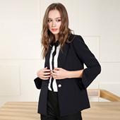 百搭显瘦通勤OL纯色开叉袖 A25013 口小西装 新款 OSA欧莎2017春装