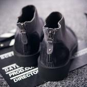 日系新品后跟拉链真皮休闲鞋高帮磨砂反绒皮复古做旧厚底翻毛男鞋
