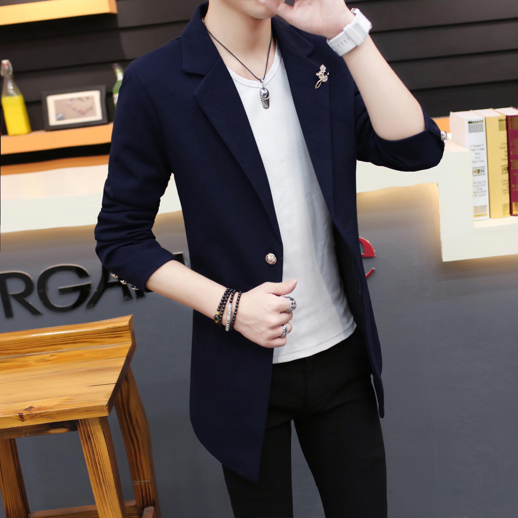 秋季长袖黑色小西装男青年韩版修身中长款西服男薄外套单西中学生图片