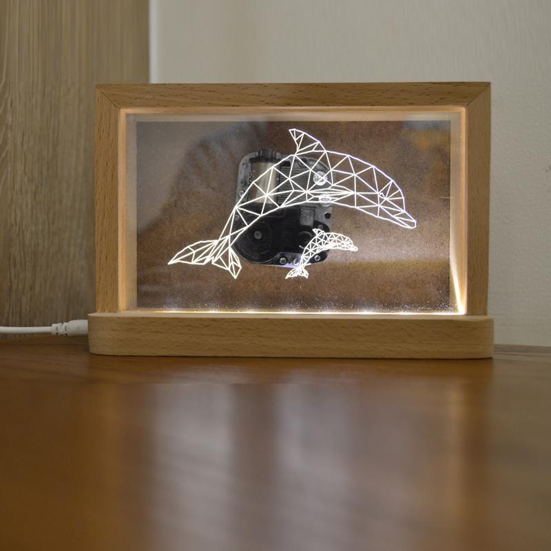复古相框led灯创意相框音乐灯八音盒摆件照片框装饰