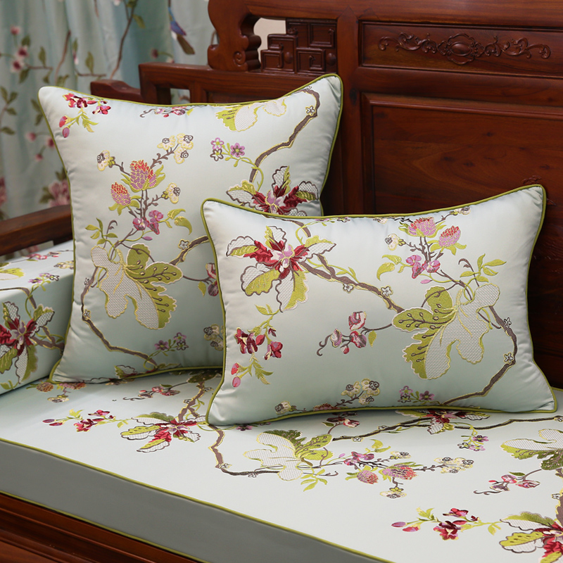 中式刺绣花抱枕红木沙发靠垫仿古实木圈椅腰靠枕床头