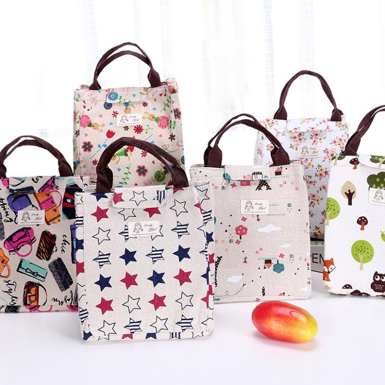 韩国创意防水帆布手提保温包便当包饭盒袋日本装午餐带饭袋田园风