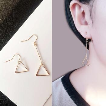 欧美极简风 长短不对称几何镂空圆形三角形耳钉耳环耳饰耳坠女