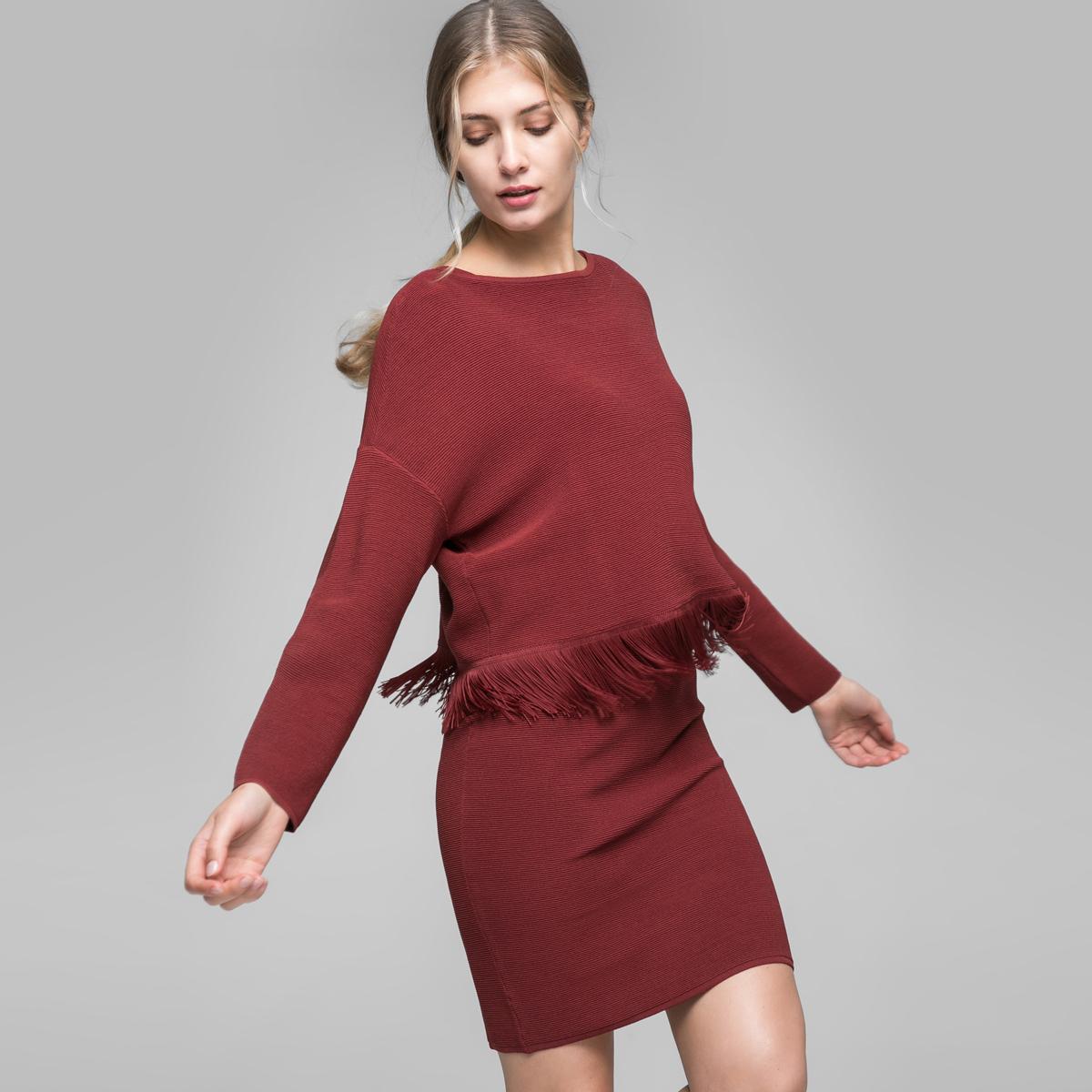 Vero Moda流苏圆领针织衫连衣裙两件套|316346527