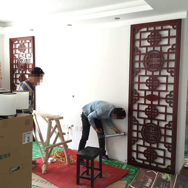 18mm进口橡胶木雕花板背景墙花格 红胡桃色雕花板 中式背景镂空板