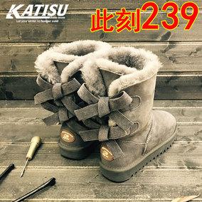 蝴蝶结雪地靴羊皮毛一体冬季防滑女学生中筒真皮加厚保暖加绒棉鞋