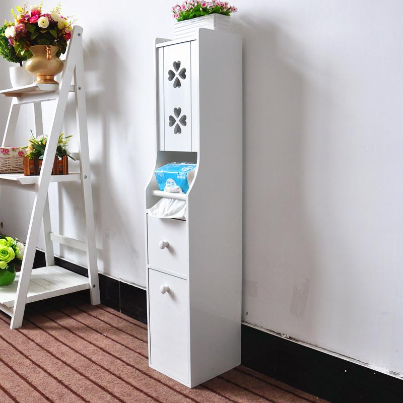 包邮欧式落地收纳柜马桶边柜移动雕花马桶柜白色抽纸柜卫浴柜G919
