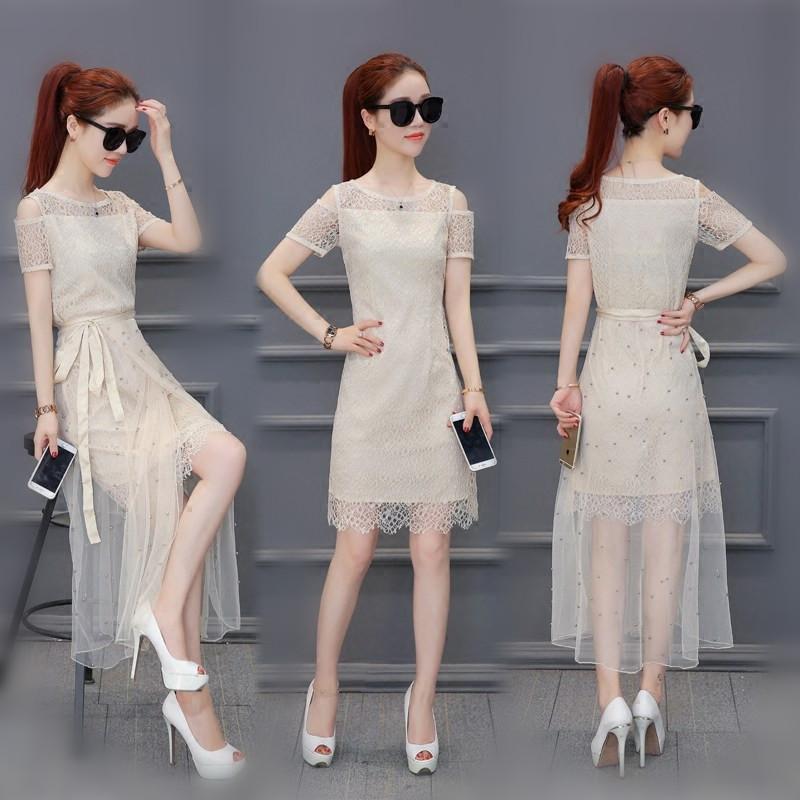 蕾丝雪纺连衣裙女夏季2017新款气质淑女露肩显瘦网纱两件套装长裙