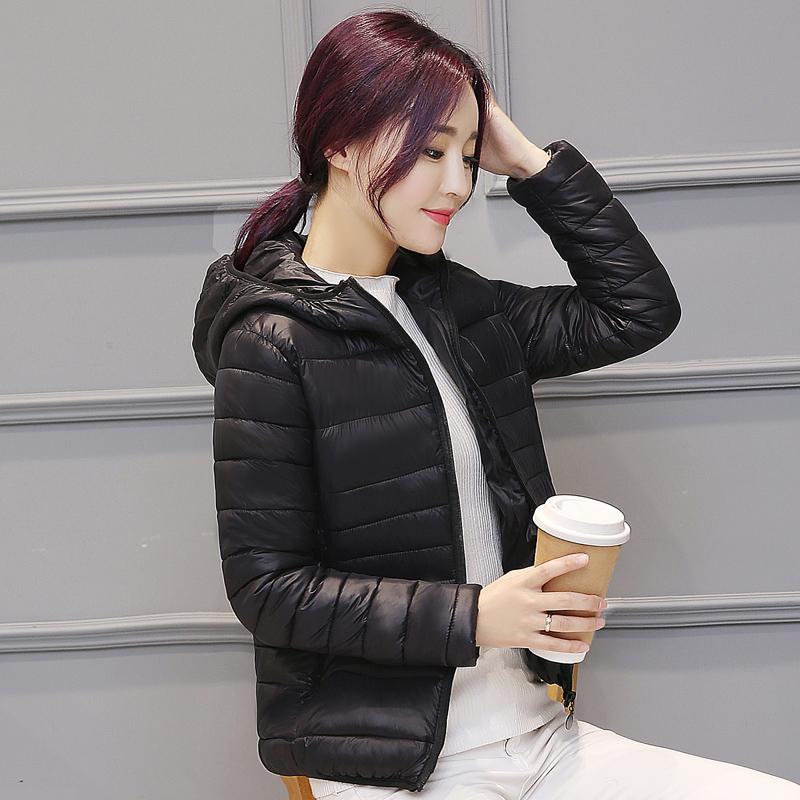 外套修身拉链轻薄连帽短款大码棉衣女装清仓长袖