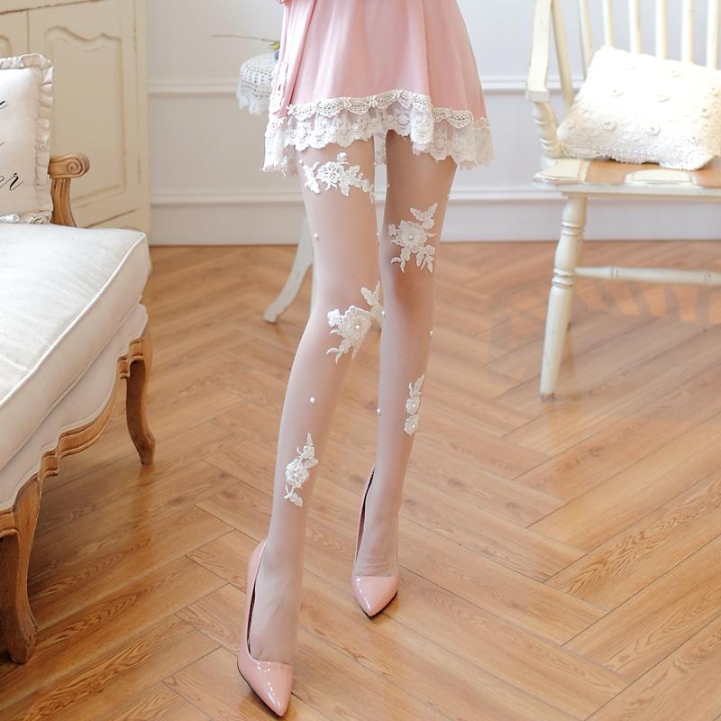 日系白色丝袜透明性感打底袜女春秋薄款新娘蕾丝花边