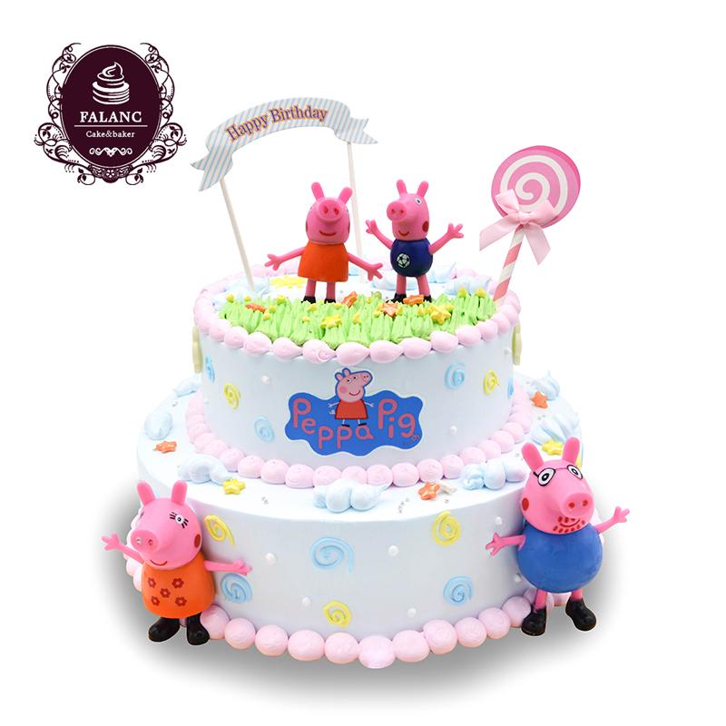 深圳广州同城速递卡通创意定制佩佩猪小猪佩奇生日蛋糕儿童场景生图片