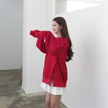 复古港风oversize开叉设计感宽松红色卫衣+白色百褶A字半身裙套装