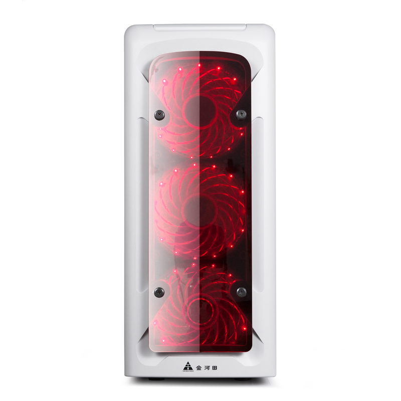 金河田 启航 至尚A1台式机电脑机箱游戏水冷ATX大板玻璃机箱背线