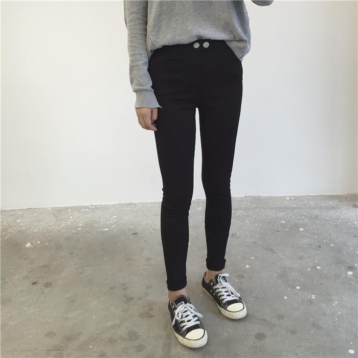 加绒保暖/普通厚度 大弹力显瘦百搭神秘黑裤!外穿小脚打底长裤女