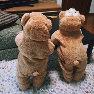 日本微博婴幼儿可爱睡衣爬服儿童毛毛小熊宝宝连体哈衣外出家居服