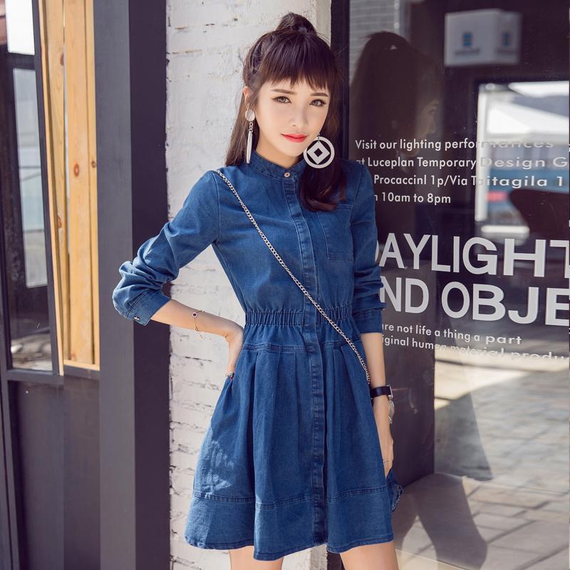 2017春季新款纽扣衬衫长袖修身中长款a字裙子韩版牛仔裙连衣裙潮