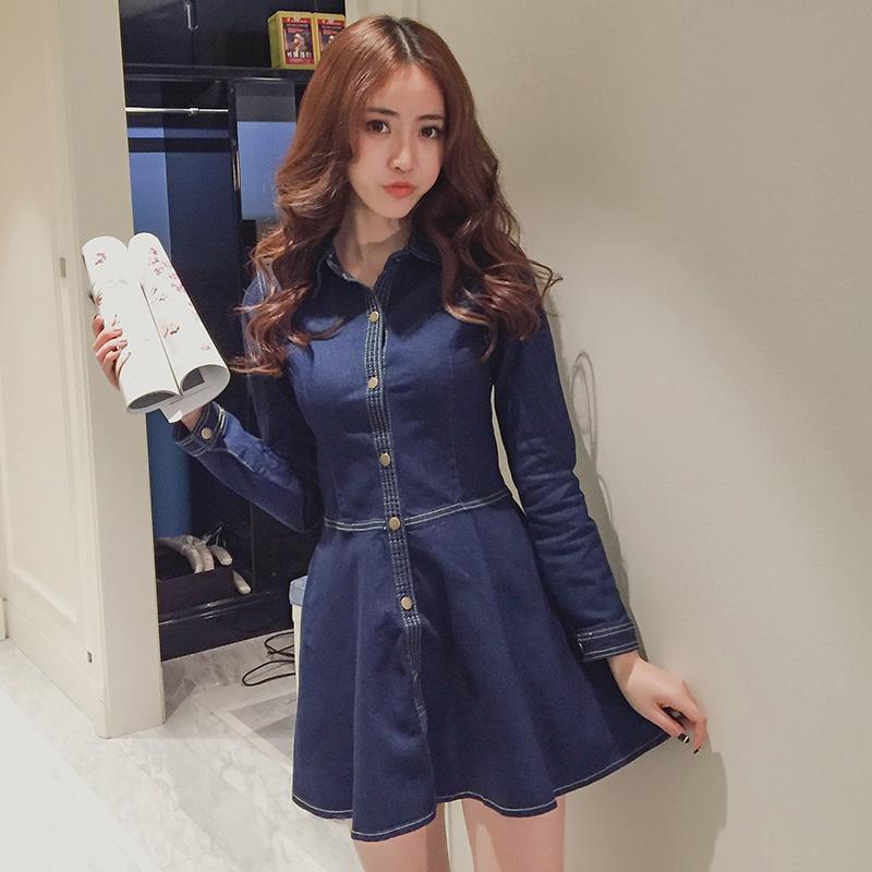 2017春季新款女装潮韩版修身a字裙子时尚单排扣长袖牛仔连衣裙