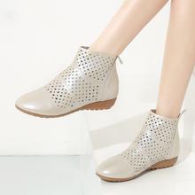 真皮短筒圆头打孔靴洞洞靴白色镂空平底靴平跟短靴女 2017春夏大码