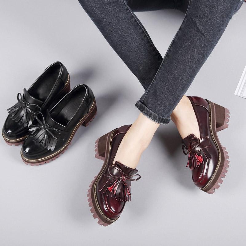 秋季新款单鞋厚底粗跟防水台黑色高跟鞋流苏英伦风女鞋学院小皮鞋