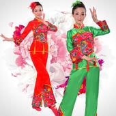 2016服民族舞蹈演出服扇子舞腰鼓舞特价 中老年秧歌服女装 新款