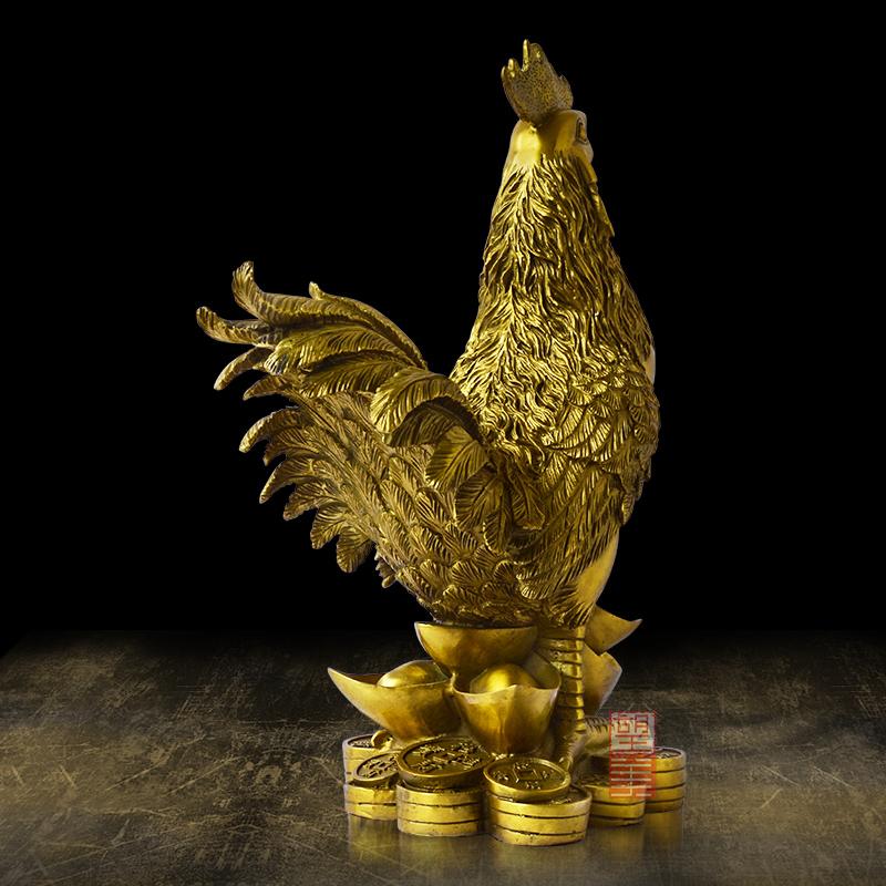 望美铜鸡摆件招财风水纯铜开光十二生肖公鸡工艺品家居装饰品大号