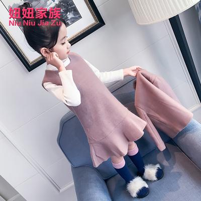 女童冬季2017新款套装儿童时尚韩版毛呢冬装女大童冬款公主两件套