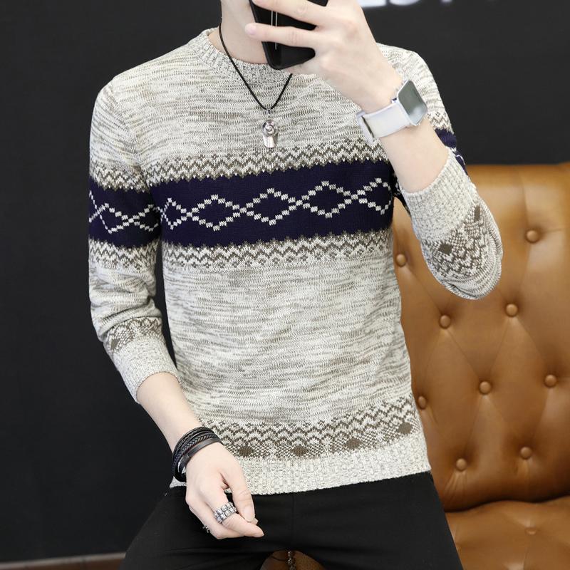 秋冬季新款圆领男士毛衣韩版日系套头针织衫青少年百搭修身毛衣潮