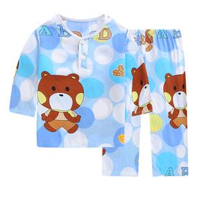 夏季儿童睡衣棉绸家居服男童女童装夏天宝宝薄款小孩套装绵绸长袖