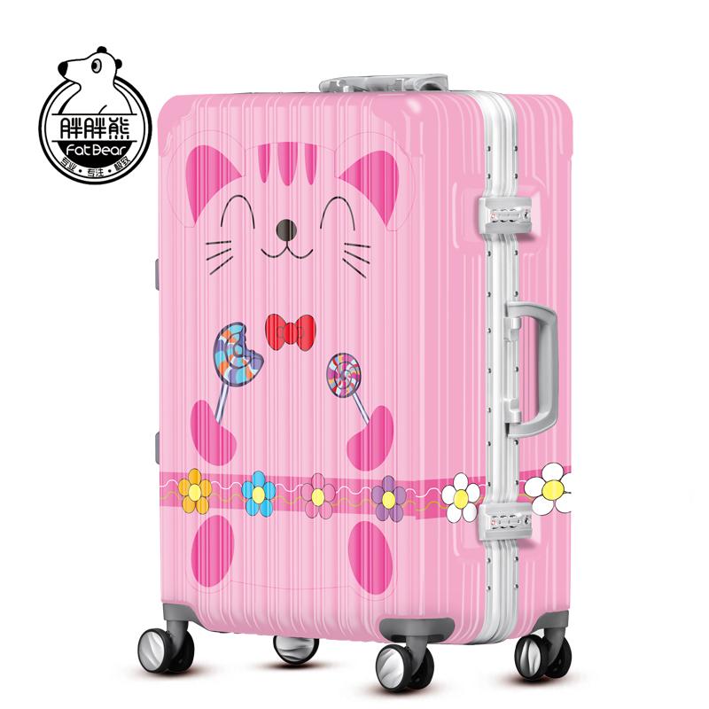 胖胖熊行李箱万向轮20登机箱手拉密码旅行箱个性小猫拉杆箱FD095