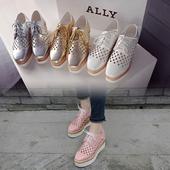 2017春季韩版松糕底厚底潮女方头漆皮系带中跟新款百搭英伦夏单鞋