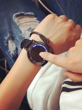 创意概念个性高科技智能圆形真皮带简约防水LED手表潮男女情侣表