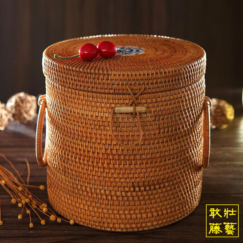 7饼普洱茶饼桶 手工藤编七子饼茶叶罐 干货储存收纳桶防潮越南藤