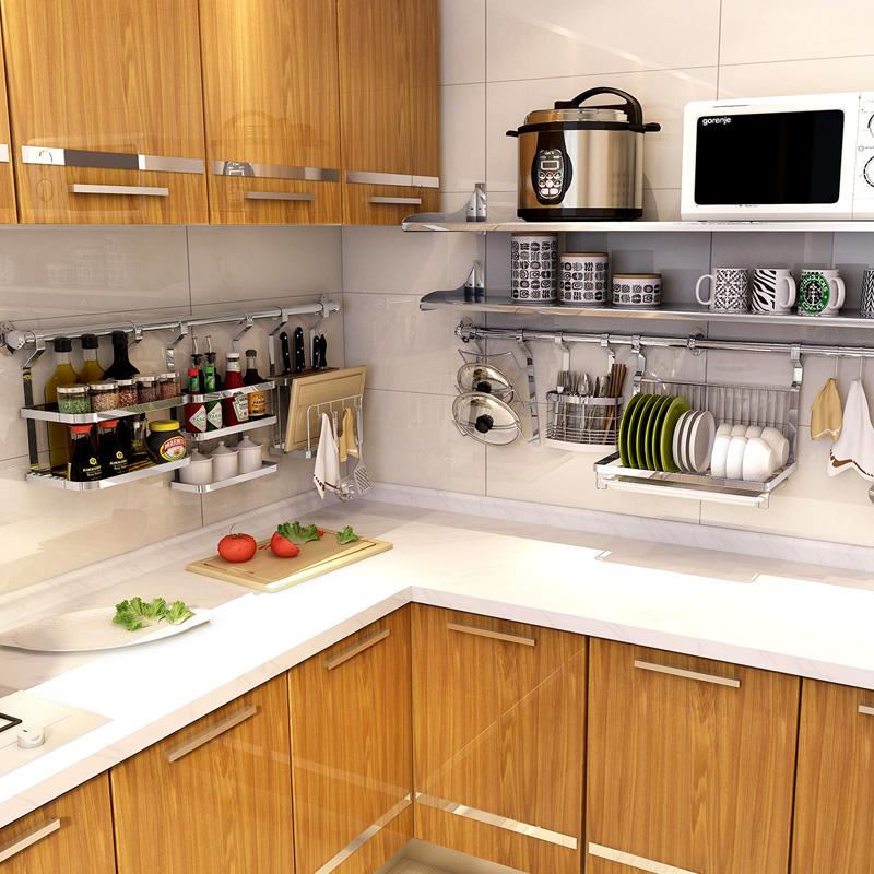 加厚304不锈钢厨房挂件 厨具用品壁挂置物收纳碗筷筒调味锅盖包邮
