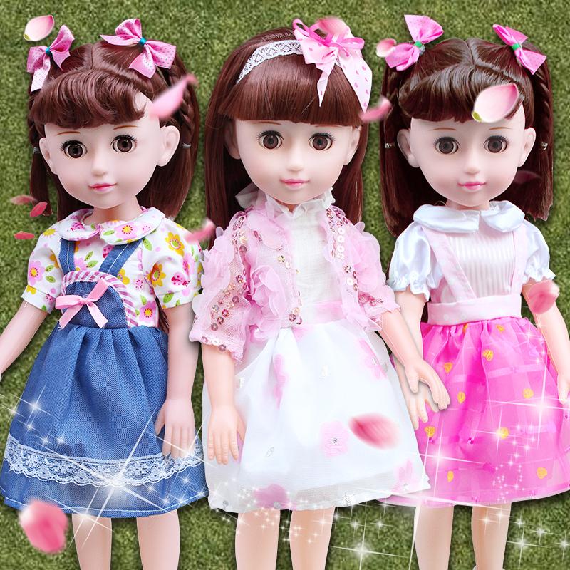 会说话的智能芭芘娃娃套装婴儿洋娃娃女孩玩具仿真巴比公主礼盒布